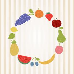 Doodle fruit circle in retro colors