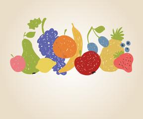 Doodle fruits background