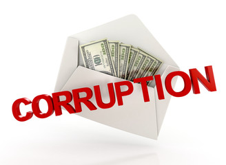 corruption. bribe. white envelope with money