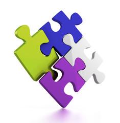 colorful puzzle pieces. 3d illustration