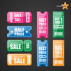 Vector sale tickets.