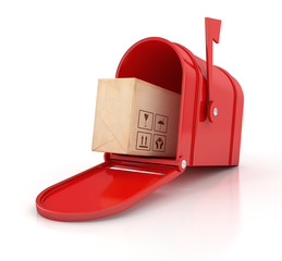 red mailbox with cardboard box. Delivery concept