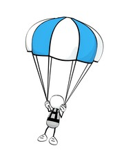 little sketchy man floating with blue parachute