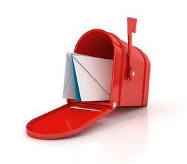 red mailbox with letters. 3D illustration