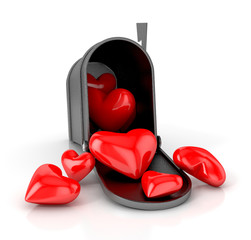 Mailbox with hearts. love concept