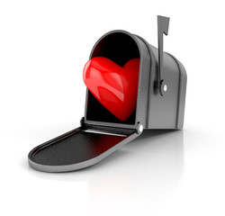 Mailbox with heart. love concept