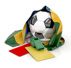 Football with Brazilian Flag, whistle, red and yellow cards
