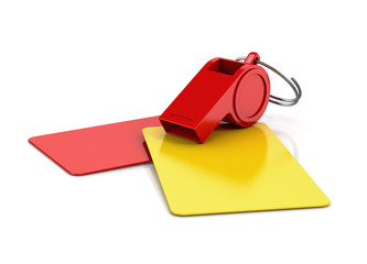 yellow and red card, and a whistle isolated