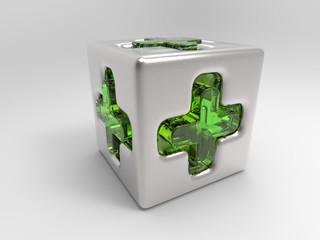 Medizinwürfel_Silber-Grünglas