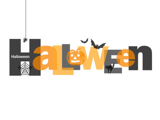 HALLOWEEN Letter Collage (pumpkin bats cat spider)