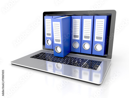 files in database - laptop with ring binders. 3d illustration - 70067655