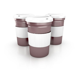 Takeaway coffee cup with lid. 3d render isolated