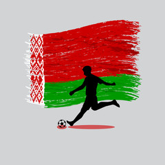 Soccer Player action with Republic of Belarus  flag on backgroun
