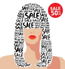 Vector illustration of fashion, shopping, sale