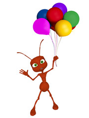 3d cartoon ant with baloons