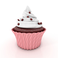 chocolate cupcake 3d illustration