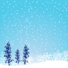 Blue Christmas background with snowflakes and Christmas tree