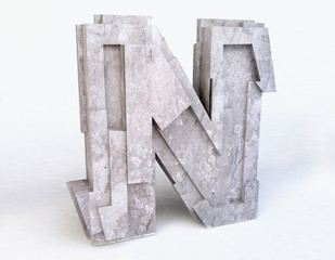 Stone Letter N in 3D