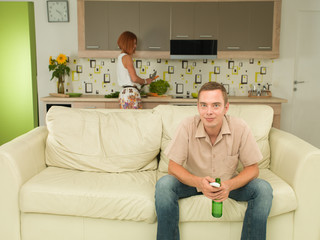 man watching interesting tv show