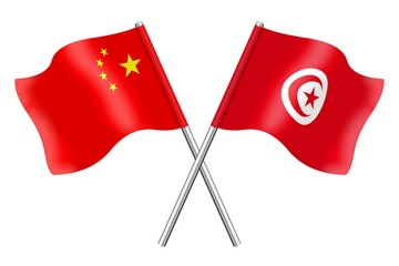 Flags: China and Tunisia