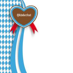 Bavarian Oktoberfest Flyer Oblong Lebkuchen Heart