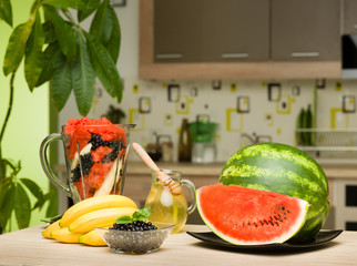 healthy fruits on kitchen table