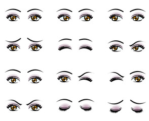 Vector female eyes in different emotion