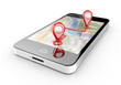 Leinwanddruck Bild - smart phone navigation - mobile gps 3d illustration