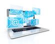 3d e-mail - envelopes, as ui concept, and laptop