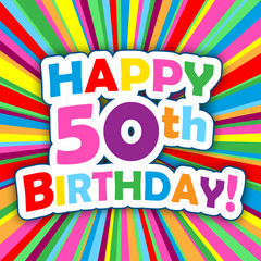 """HAPPY 50th BIRTHDAY"" Card (party invitation card message)"