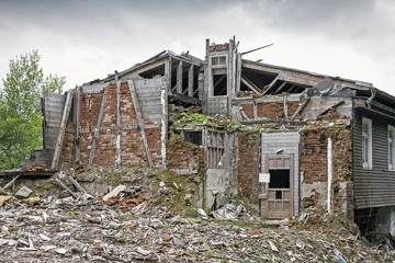 Rubble with demolished building