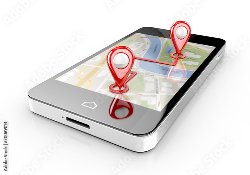 canvas print picture smart phone navigation - mobile gps 3d illustration