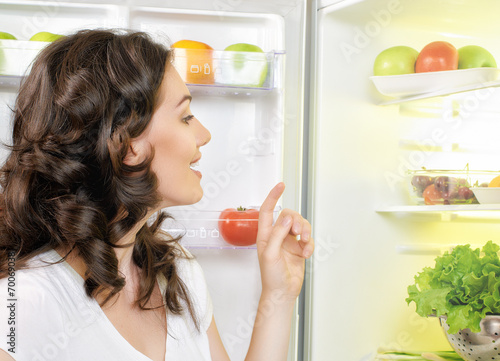 canvas print picture fridge with food