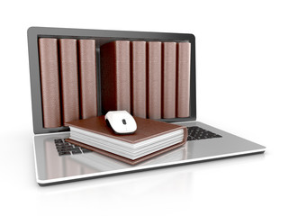 digital library - books inside computer concept