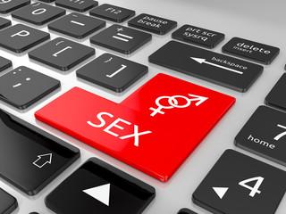 Sex button on keyboard. 3d illustration