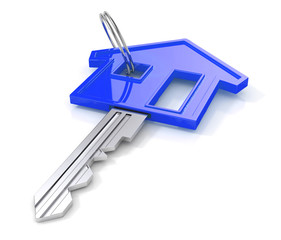 Blue house key. 3d illustration
