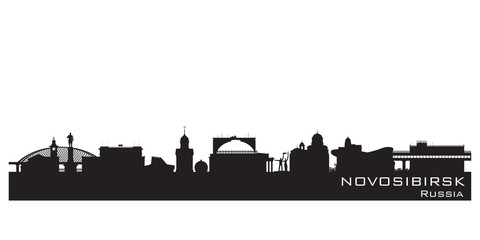 Novosibirsk Russia city skyline Detailed silhouette