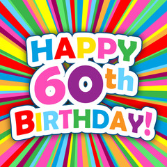 """HAPPY 60th BIRTHDAY"" Card (party invitation card message)"
