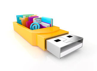 usb flash drive with folders, sticky notes, and tools