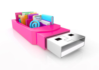 usb flash drive with folders, check list, and tools