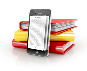 e-book concept - book instead of display on smartphone