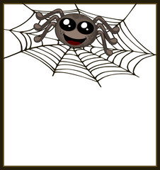 Smiling spider sitting on a web in simple frame