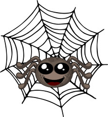 Smiling spider sitting on a web