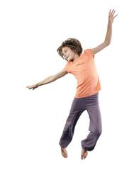 pretty girl  jumping oner white