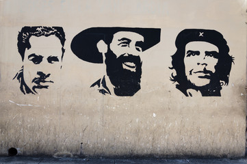 Wall painting of cuban revolution heroes