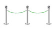 Stand chain barriers in silver design with green chain