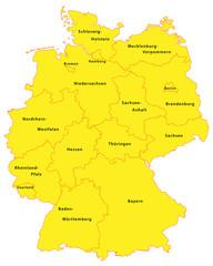 Bundesländer gelb mit Beschriftung