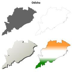 Odisha (Orissa) blank detailed outline map set