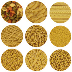 pasta of different shapes