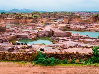 Open-pit red sandstone mine, Jodhpur, India